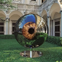 'The Architect's Eye' is a high-tech sculpture by Moscow-based architects SPEECH Tchoban & Kuznetsov with changing iris and pupil as well as images of abandoned Russian monuments.