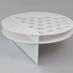The Area Table designed by Christopher Stuart of Luur is a coffee table comprised of an equilateral triangle inscribed in a circle. The  created sections are divided into parts made from laser cut and bent aluminum.