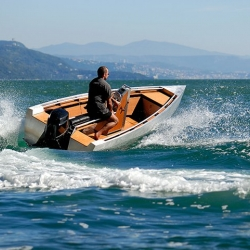 Gorgeous aluminum and teak runabout day boat from Vienna based ArgoNautic.
