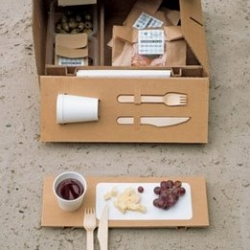 Arwin Caljouw's 'PicknickToGo' completes the perfect picnic providing bio degradable mugs, cutlery and picnic blanket in a cardboard box. (Click through to 'senses')