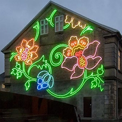 Astrid Krogh's latest neon light installation is 'Flora', a decoration for the Nikolai Quarter in Kolding, Denmark, which was commissioned by the Commune of Kolding.