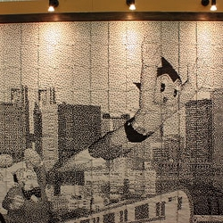 At Shinjuku Takashimaya Department Store they created a 3.2 x 2.1 metre work of Astro Boy pixel art made from 138,000 recycled Tokyo Metro tickets.