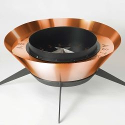 Modfire is a boutique maker of beautiful, modern, outdoor fireplaces. Here is a recently completed  Astrofire clad in rich copper electroplate.