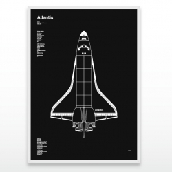 Designer Dave Cuvelot designed a screen-printed poster of the Space Shuttle Atlantis commemorating the 30yr NASA program.