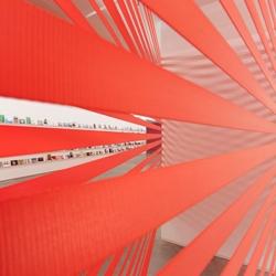 Interesting work form German-based Turkish artist Ayse Erkmen, including her various safety belt works.