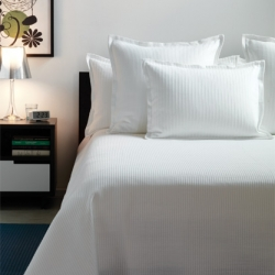 The Fulton line (duvets, etc)  just launched from Unison ~ and the fine and dense cording with that pleated look from afar with alternating pillow shams to match is nice and modern ~