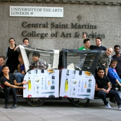 Design firms are being taken hostage by design students from the BA Product Design course at Central Saint Martins College of Art and Design.  In these uncertain times these students are literally going the extra mile to expose local design employers to their degree show by chauffeuring them by rickshaw