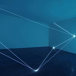 Carlo Bernardini creates spatial drawings using optic fibers adding another dimension to darkness.