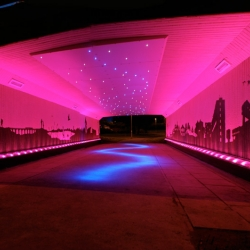 A striking outdoor lighting design for a Scottish city underpass proves that high impact doesn't have to mean high energy, as this large scale 170 LED lighting installation consumes the equivalent energy of 6 incandescent light bulbs.