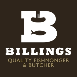 Logo for a butcher and fishmonger called Billings, part of the 'What if' project to promote good design in the high street to help keep trade local. Designed by Good People.