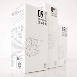 Packaging design for BIO A+O.E. is an abstract, technical evolution of the Dandelion flower, a simple symbol of natural and timeless beauty.
