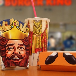 Create your own king, Burger King concept redesign. Create King figurines from value meal packaging. Interchangeable pieces mean you could swap his robe for a pimp jacket, or his boots for red high heels.