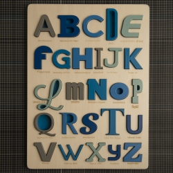 New children's design brand LOOODUS, presents their FONT ALPHABET PUZZLE. laser cut and hand finished, the puzzle is 100% made in Italy. Each letter corresponds to the first letter of the font used for that letter.