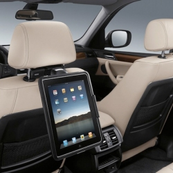 BMW has always embraced Apple products and BMWs will soon feature iPad docking bays on back seats, which swivel and rotate. Using ConnectedDrive, the car will act as a mobile Wi-Fi hotspot, allowing iPads and other devices to connect online.