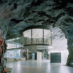 The new Pionen datacenter for Bahnhof was designed by Albert France-Lanord Architects on  1,200sqm anti-atomic shelter in Stockholm, Sweden. Inspired by Ken Adams, set designer for Bond movies.
