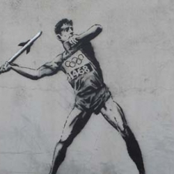 Banksy strikes before the opening of the 2012 Olympics in London.