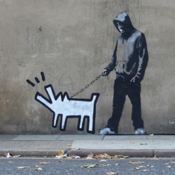 Banksy's latest piece of public art is a play on street art pioneer Keith Haring's style.