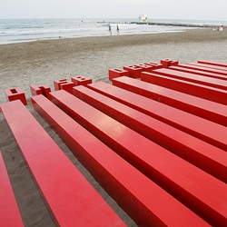 Chus Garcia-Fraile's super-sized 'Barcode' sculpture at the International Festival of Benicassim in Spain.