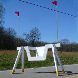 Barricade Chairs designed by Matt Alexander. Half seating, half barricade!