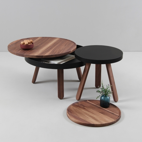 Batea tables designed by Daniel García from Woodendot. Batea S is a tray table and Batea M is a coffee table with a small storage space beneath its table top.