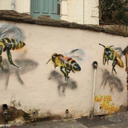 Protect your bees! - Really digging this amazing pieces by Louise Masai in Bristol, England.