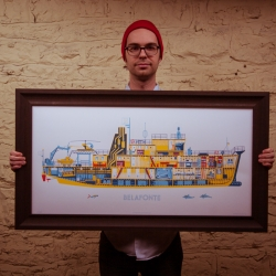 The Belafonte 18x36 screen print from Familytree. Inspired by The Life Aquatic with Steve Zissou.