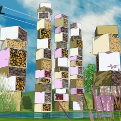 British Land's Beyond the Hive competition challenges London architects to design luxury bug hotels to boost insect populations. Designs are made from recycled or reclaimed materials and will be viewable from June 18th.