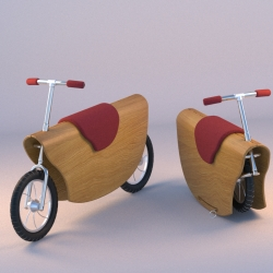 A balance bicycle that can be transformed into a Rocking Horse. The cycles are being folded into the wooden body of the bicycle and are used as breaks which prevent from the child to turn over while swaying.