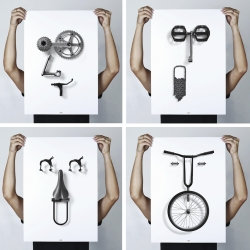 Bikemoji is a series of emotion portraits that are most common amongst cyclist. Created using various parts of a bicycle, each poster visually depicts a character in a simple, iconic and interesting way.