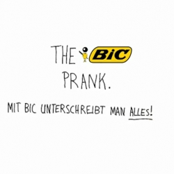 Funny idea for the brand BIC. Celebrities were asked to give an autograph. What they did not know, by doing so, they signed crazy contracts for stuff they would never do. Why? Because BIC pens are so nice, you would sign anything!