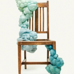 "Amazing chairs by Kyeok Kim, I love how  the foam-like material takes over the original object and ""grows"" on it."
