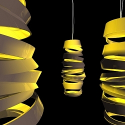 Dima Loginoff has made a serie of lamp that all play with a curly effect of something draping around the light, making it looks like someone have cut out slices of the lamp shade.