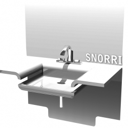 Last year my good friend, Logi Hrafn Kristjánsson, made an elegant and beautiful bathroom basin called Snorri, with inspiration from the Icelandic waterfalls.