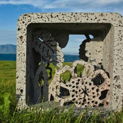 In Icelandic fairytales trolls turns into stones in daylight. I don't know if this sculpture from Gudrun Lilja Gunnlaugsdóttiris a troll, but it has certainly captured the magical and mystical spirit of Iceland!