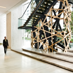 Olympics bird's nest inspired staircase at East Hotel, Hong Kong, designed by CL3.
