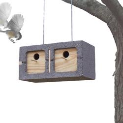 As a student project Mathew Zurlinden designed a birdhouse made from a cinder block.
