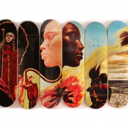 Western Edition Skateboards Featuring the Art of Mati Klarwein, the Bitches Brew Skateboard Series.