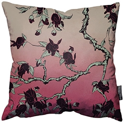 Screen print that went wrong has led to the beautiful Black Bunny Blossom pillow by Kozyndan.