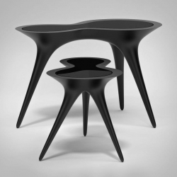 Black Ice tables by Timothy Schreiber.