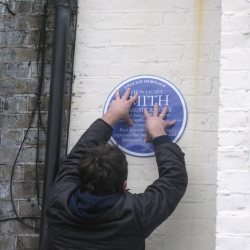 An unofficial blue plaque unveiled at the home of the British Home Secretary, Jacqui Smith.