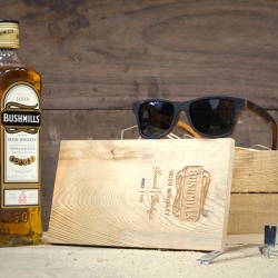 Shwood, Bodega, and Bushmills team up to make sunglasses from Irish whiskey barrels!  The eyewear comes appropriately packaged in a custom wooden whiskey crate with a crowbar!