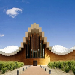 The Bodegas Ysios winery's roof, when seeing from exact 90 degree, giving us a pixel-like visual, thus create the effect of an unreal building when photographed. Designed by Santiago Calatrava.