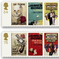 The Royal Mail has issued a new set of stamps featuring James Bond covers through the decades: the 50s ones are much the best