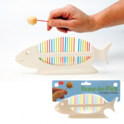 "Something ""fishy"" about  your hors d'oeuvres?  Try serving 'em up with Designer Craig Anczelowitz's new ""Bone-To-Pick"" toothpick holder."