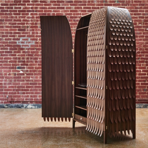 Trent Jansen's Broached Monsters is a curious collection of furniture takes the shapes and textures from the deep depths of Australian mythology, transforming designs into hulking wardrobes and unique cabinet creations.