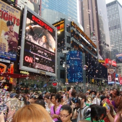 Our friends at Newmindspace decided to throw a flash mob-style bubble fight in Times Square loosely based on Dr. Seuss' The Butter Battle Book.
