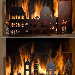 Fireplace screens that commemorate the great fire sof London and Rome.