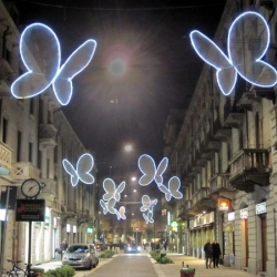 'Light Butterflies' by Chiara Lampugnani Design is an innovative project displayed in Paolo Sarpi Street and Canonica Street in Milan as part of the the Milan International Led Light Festival.