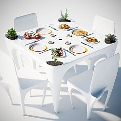 Bye Bye Wind furniture set counteracts the action of wind on outdoor meals.