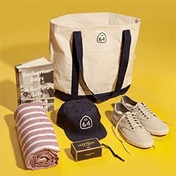 SeaVees Essential Escape Kit - A California Getaway Bag! Includes Gift Card (for a pair of your choosing), Apolis Beach Towel, barbarian Days book, Byrd Soap On A Rope, CA-64 Hat and Tote, Sticker, and Greetings From California Postcard!